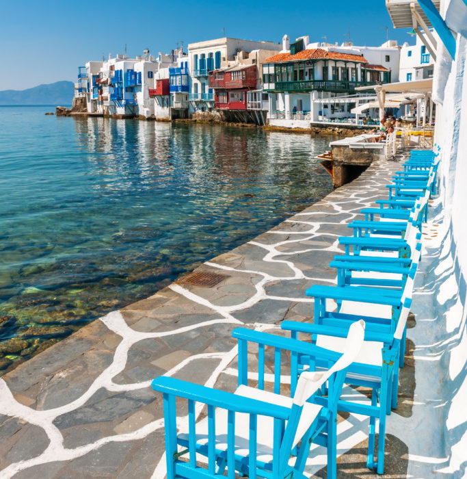 Little Venice on Mykonos Island, Cyclades, Greece